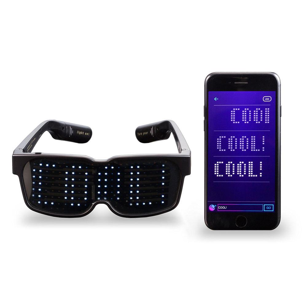 6bc5d59a9 Óculos LED Chemion 2 - Envie Mensagens e Emojis - Óculos Preto C/ Luz Led E  Mensagem