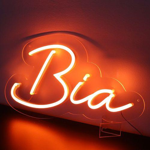 Placa Personalizada Neon LED Laranja -  Nome ou palavra com 3 Letras