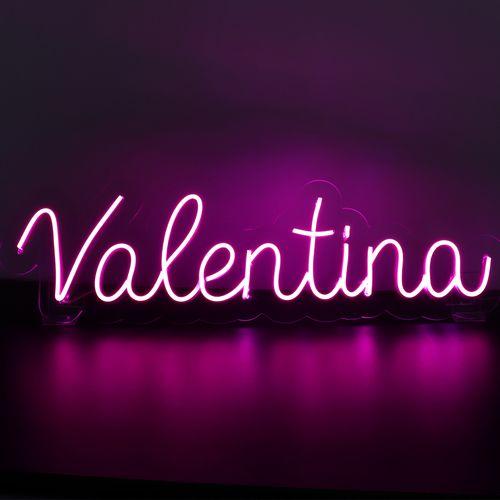 Placa Personalizada Neon LED ROSA - Nome ou palavra com 9 Letras